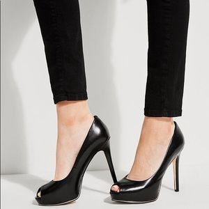 GUESS Patent Black Open Toe Heels